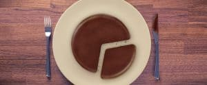 Chocolate pie cut into graph-like slices - evaluating market share