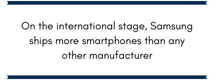 On the international stage, Samsung ships more smartphones than any other manufacturer