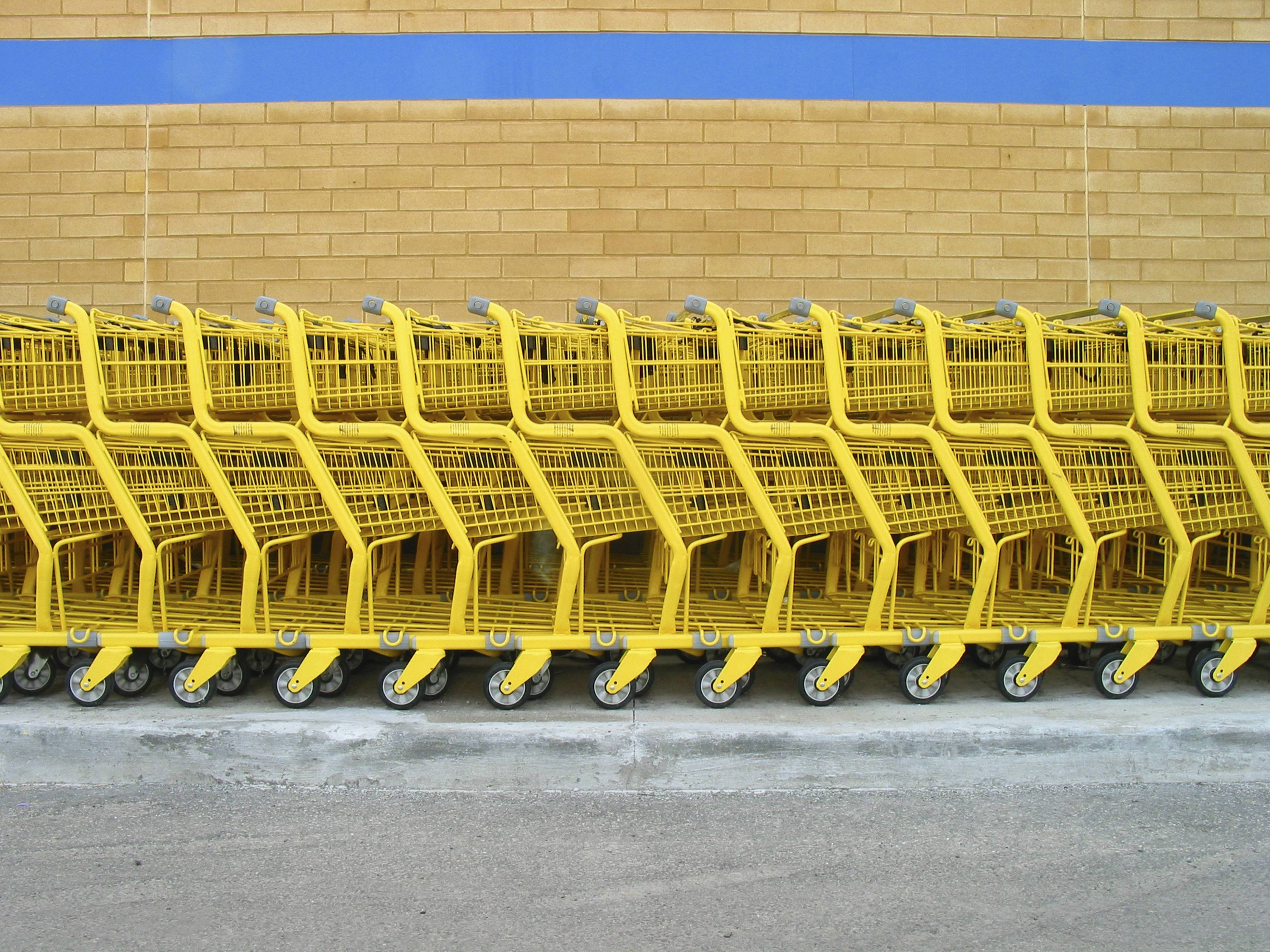 row of shopping carts- category expertise for brand and retail market shares
