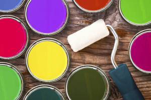 paint roller with multiple cans of colored paint- home improvement market shares
