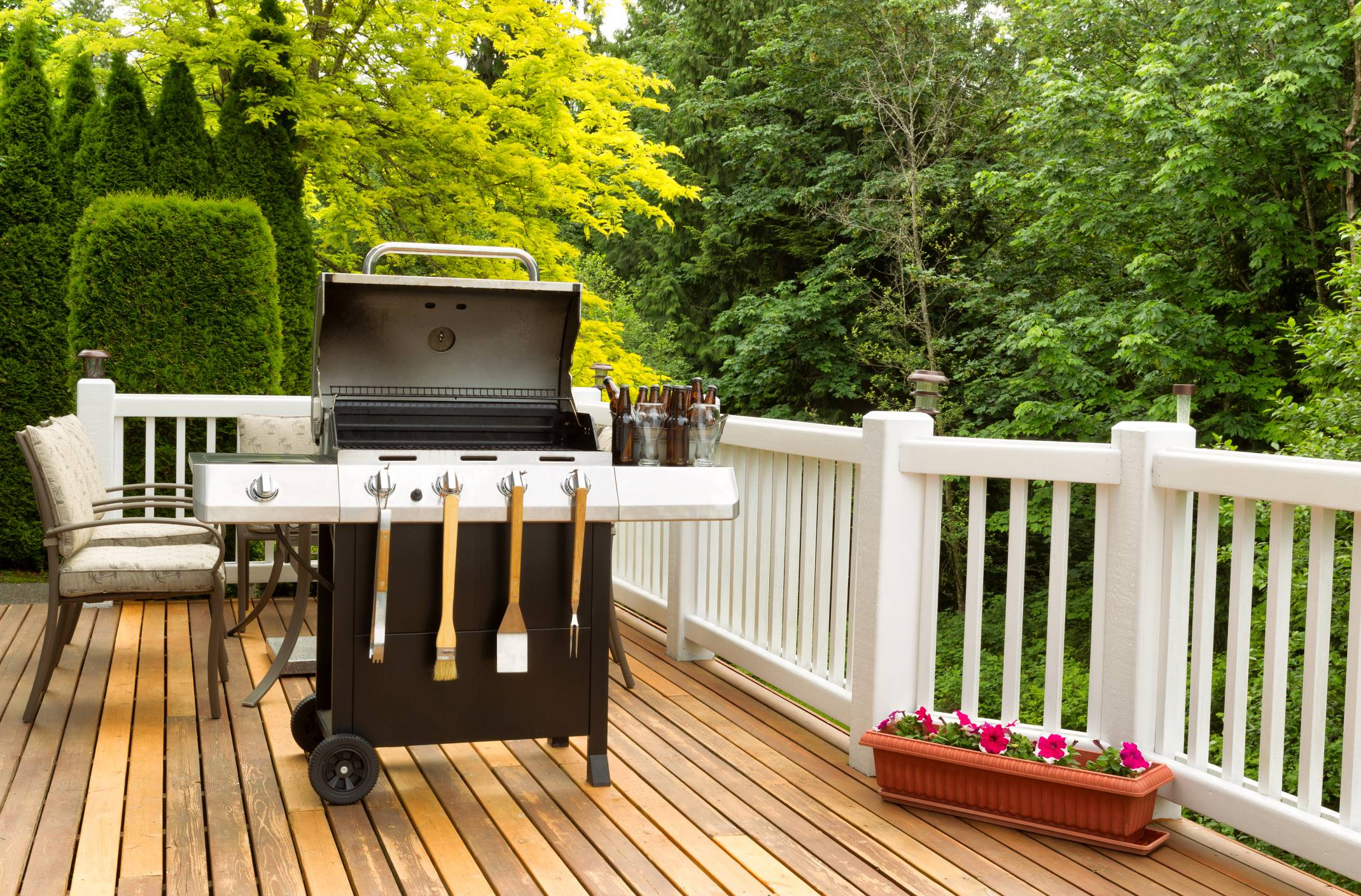 BBQ grill on an outdoor deck- patio market shares