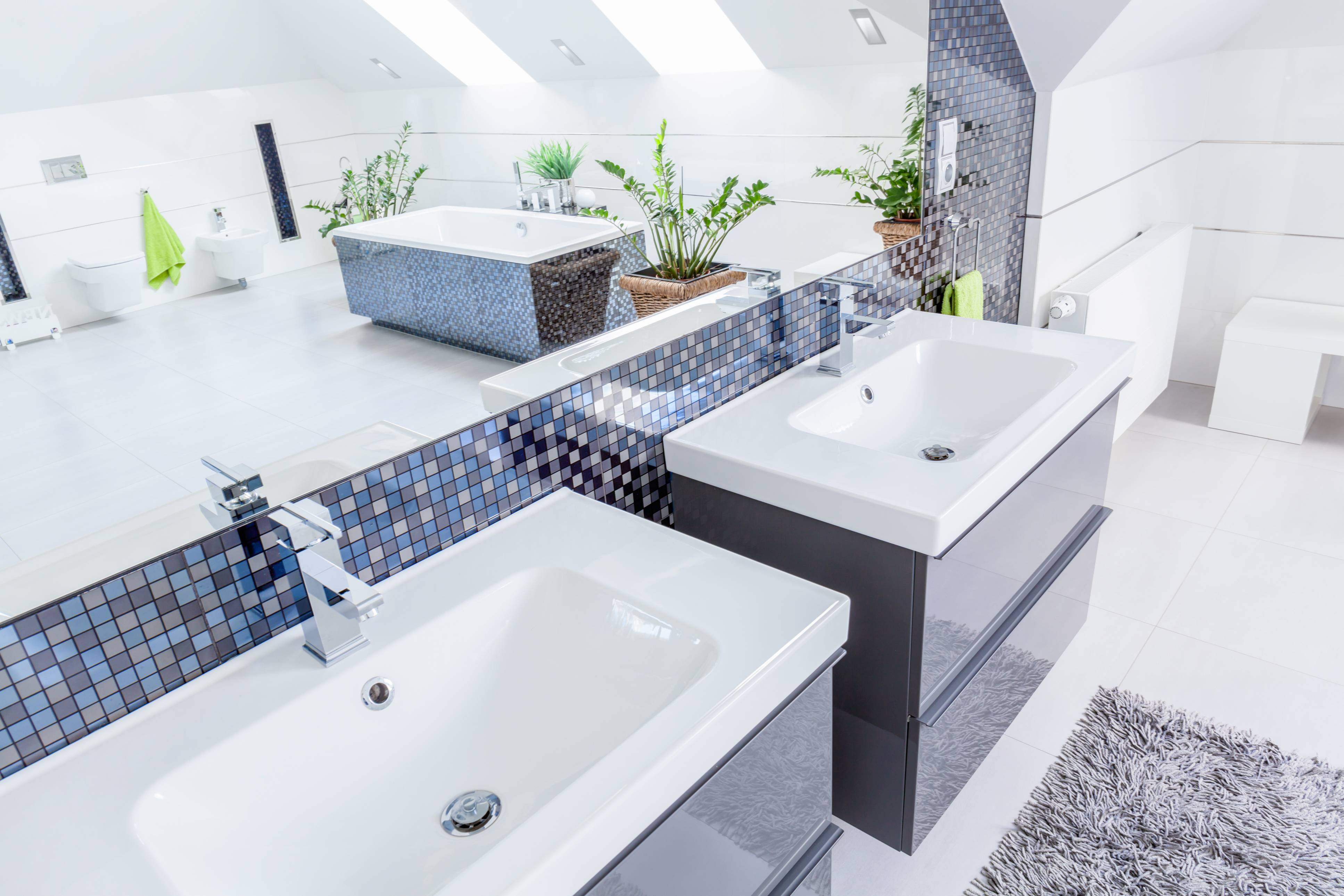 two basins in a bathroom- traqline kitchen and bath market shares
