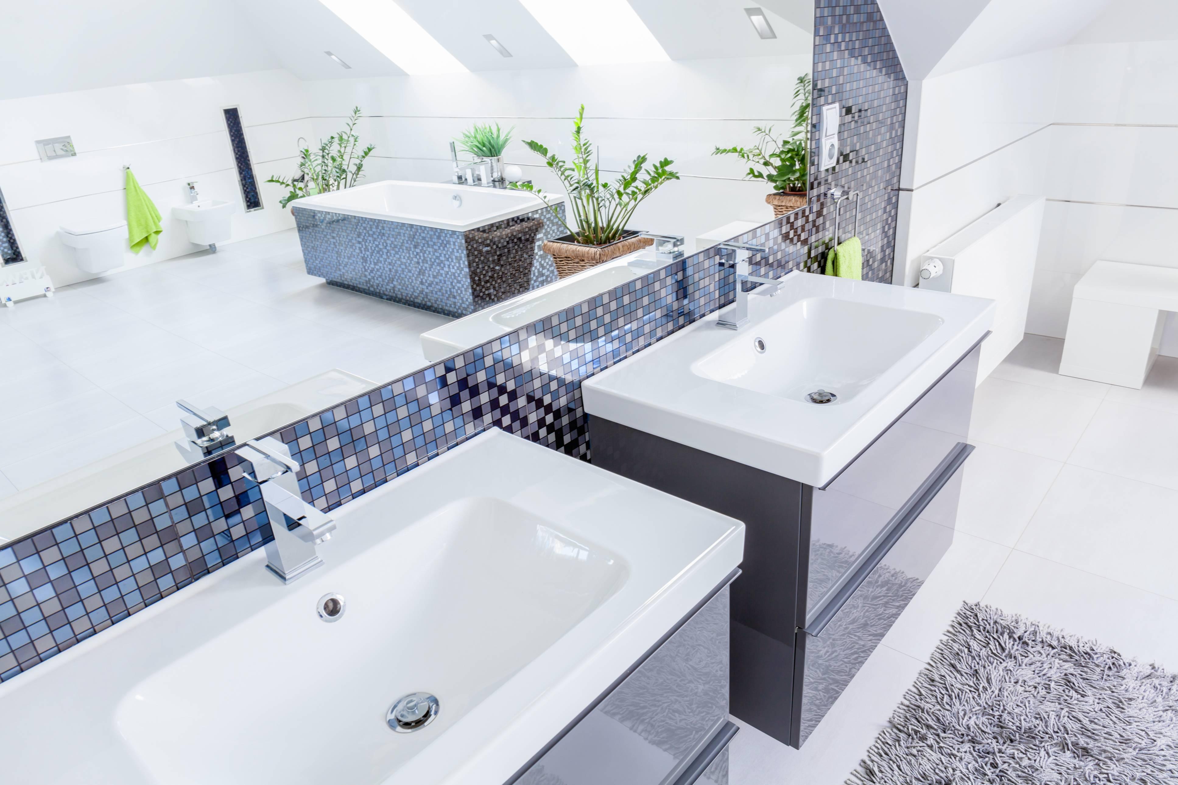 two basins in a bathroom- traqline kitchen and bath market shares