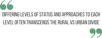 "block quote: ""differing levels of status and approaches to each level often transcends the rural vs urban divide"""