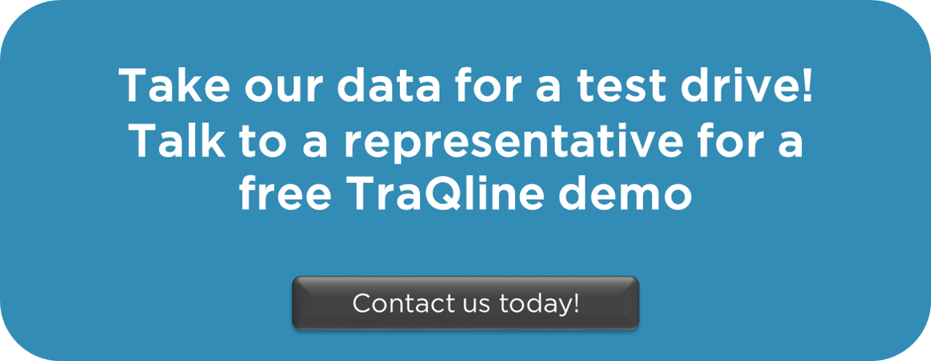 "blue box with white text ""Take our data for a test drive! talk to a repreentative for a free TraQline demo. Contact us today!"""